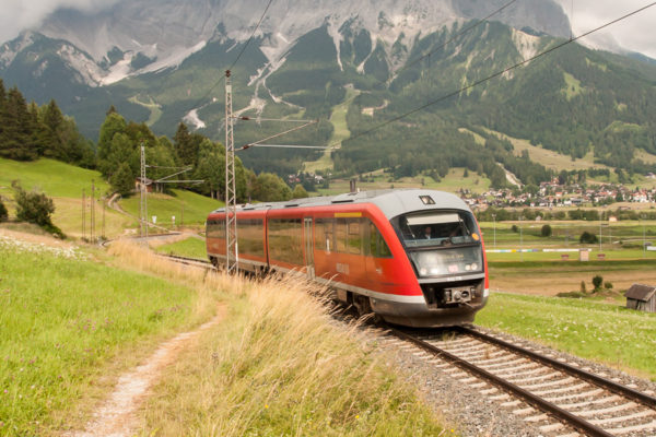 Regional train in Lermoos, Austria