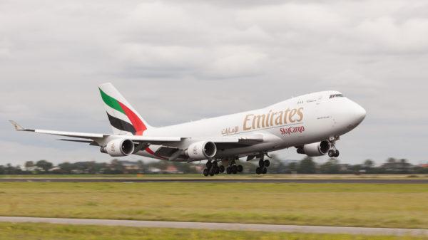 Emirates Boeing 747-47UF landing at Schiphol (EHAM)