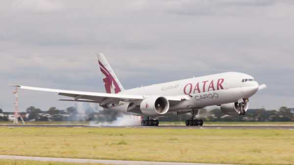 Qatar Airways Cargo Boeing 777-FDZ landing at Schiphol (EHAM)